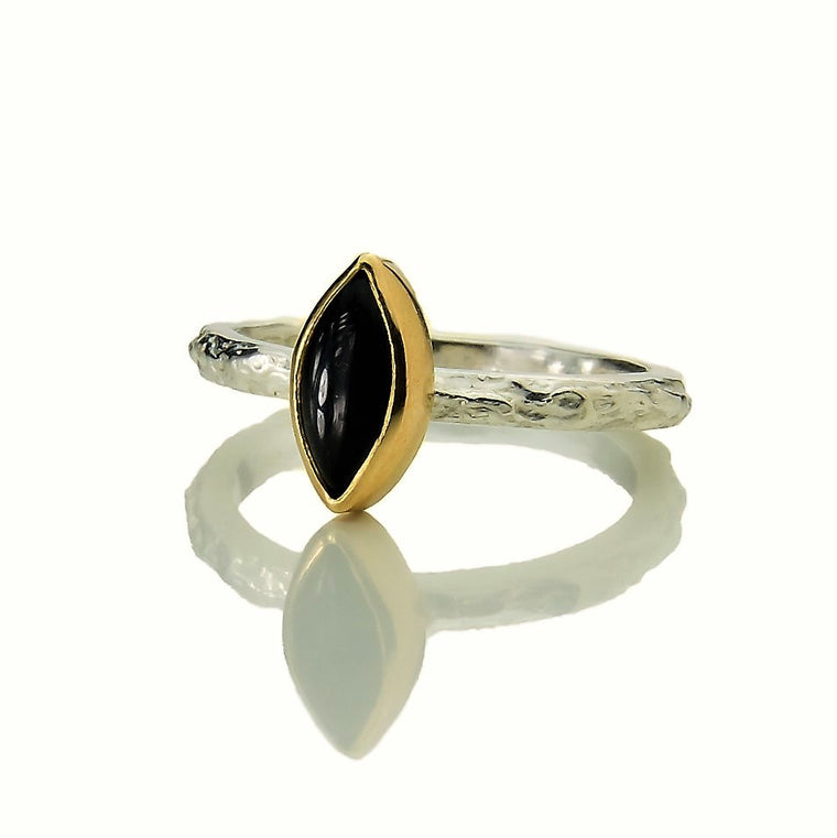 handmade silver and gold black onyx textured Treasure ring