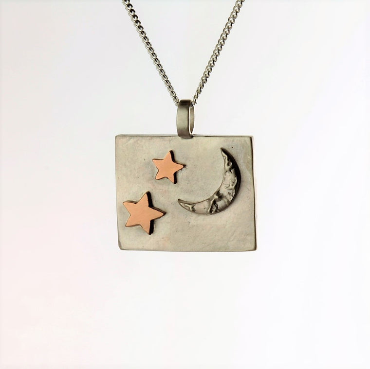 Luna moon and 9ct rose gold stars silver necklace