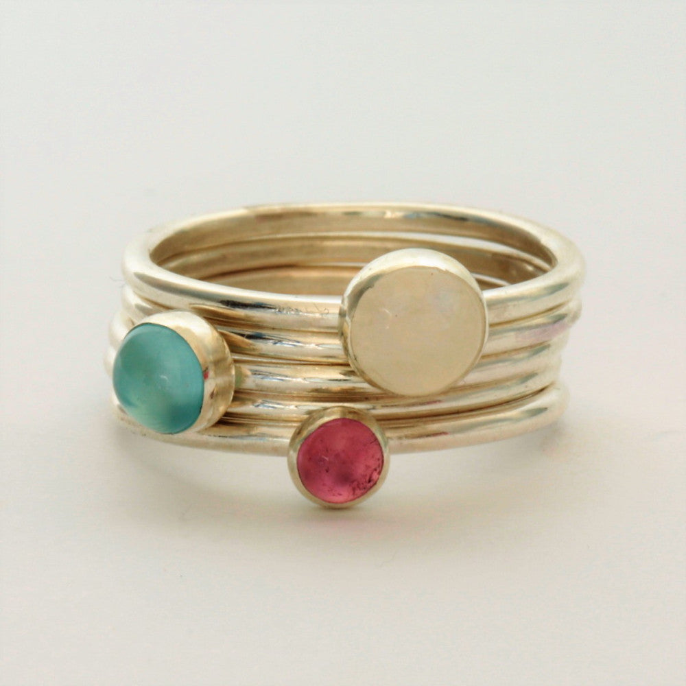 Pink Tourmaline, Moonstone Silver Stacking Rings