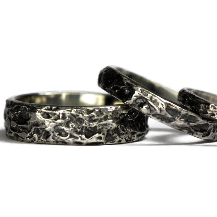 Wide textured sterling silver oxidized ring band
