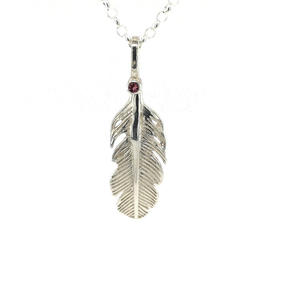 Silver Amethyst Angel Feather Necklace
