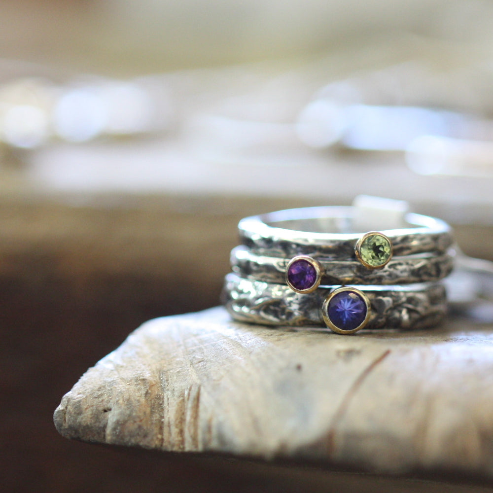 Tanzanite, Amethyst and Peridot treasure rings