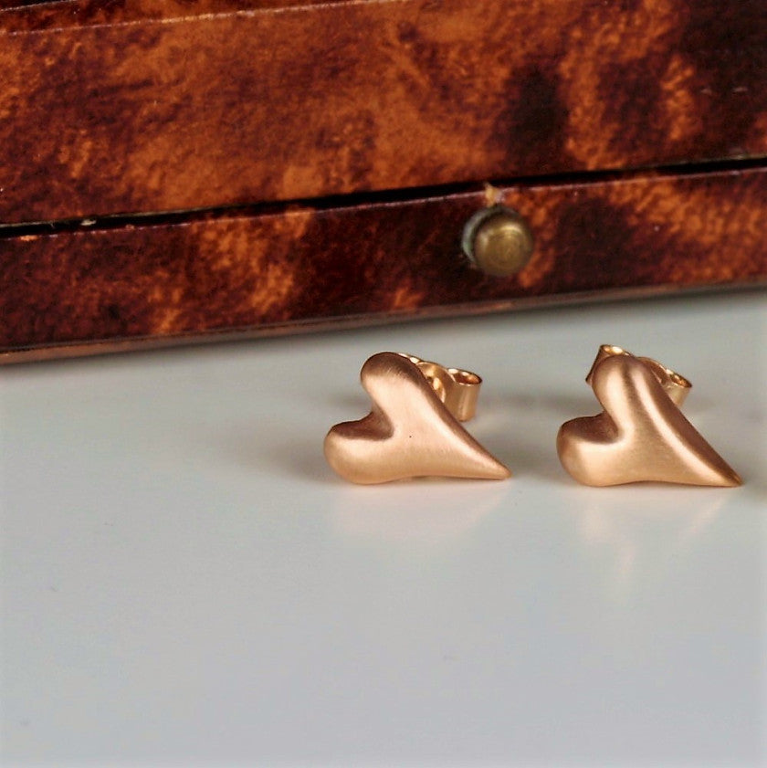 Solid 9ct Rose Gold heart earrings