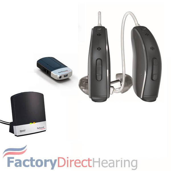 Pair - LiNX2 9 ReSound Hearing Aids with TV Streamer & Mini Microphone (iPhone Users)