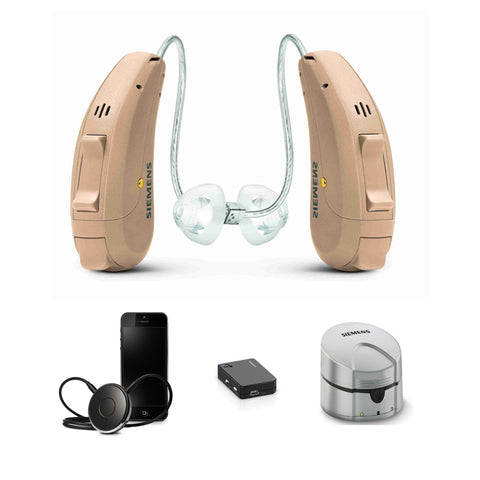 Pair - Siemens Signia Pure Primax 3Px with EasyTek, eCharger & TV Transmitter Hearing Aid