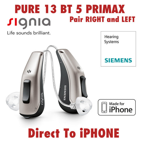 Pair - Signia Pure 13 BT Primax 5 Hearing Aids (Direct to iPhone)