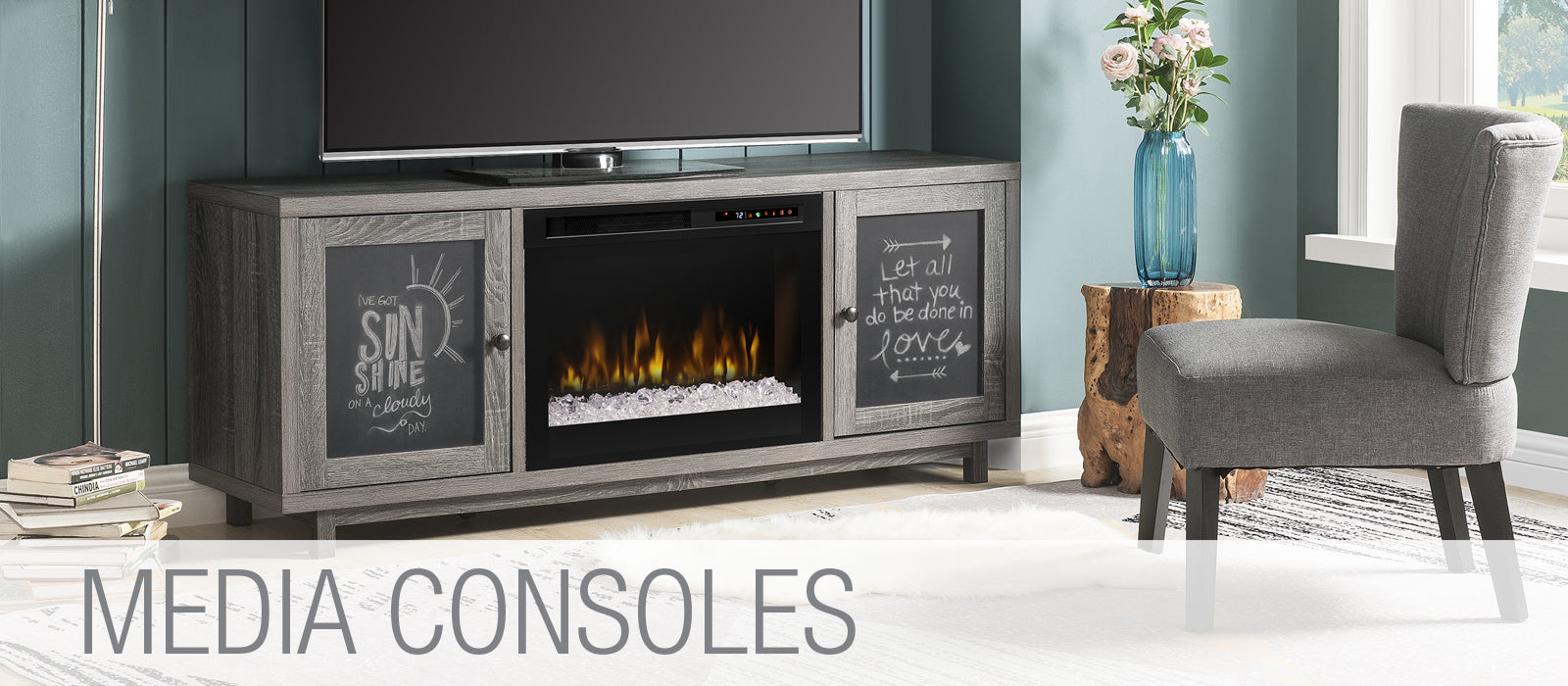 TV Media Console Fireplaces