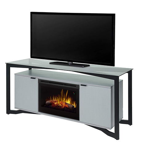 Dimplex Christian Electric Fireplace Media Console with Logs, Floating Cabinet and Silver Wave Finish - GDS26L5-1846SW