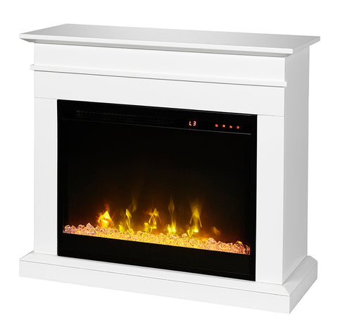 "Dimplex Jasmine Mantel with 23"" Electric Fireplace - White - Acrylic Ice Embers - C3P23C9-2067W"