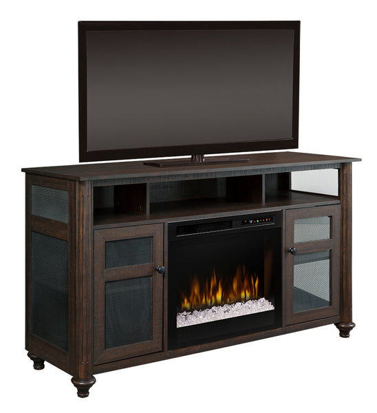 Dimplex Xavier 60-Inch TV Media Console Electric Fireplace - Warm Grainery Brown - Acrylic Ice Embers - GDS23G8-1904GB