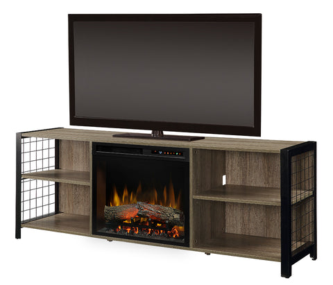 Dimplex Asher 65-Inch TV Media Console Electric Fireplace - Tudor Oak - Realogs - GDS23L8-1905TU