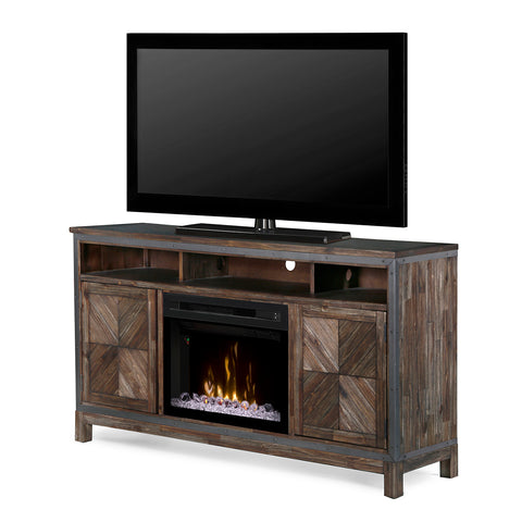 "64"" Wyatt Media Console with 25"" Multi-Fire Acrylic Ice Bed Firebox - GDS25GD-1589BY"