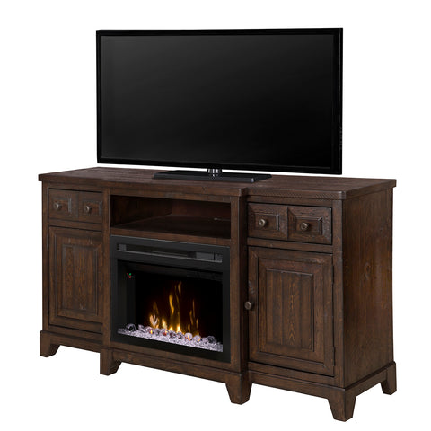 Dimplex Multi-Fire XD Heinrich 66-Inch Electric Fireplace Media Console - Acrylic Ice Embers - Wentworth Brown - GDS25GD-1863WR