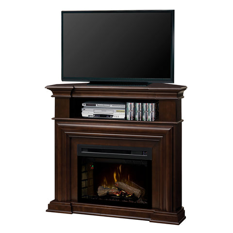 Montgomery Corner Electric Fireplace Media Console in Espresso with Logs - GDS25HL-1057E