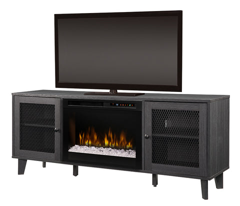 Dimplex Dean 65-Inch Media Console Electric Fireplace - Glass Ember Bed - Wrought Iron - GDS26G8-1909WI