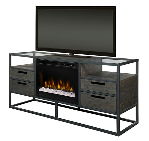 Dimplex Ivan 58-Inch Electric Fireplace Media Console - Inner-Glow Logs - Noir Brown - GDS26L8-4034NB