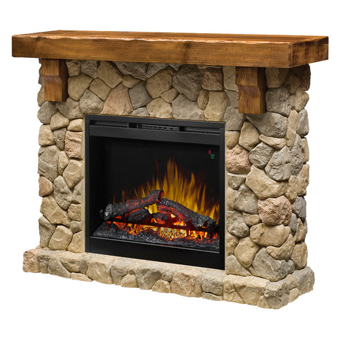Dimplex Fieldstone 55-Inch Rustic Mantel Electric Fireplace - Stone - Realogs - GDS26L5-904ST