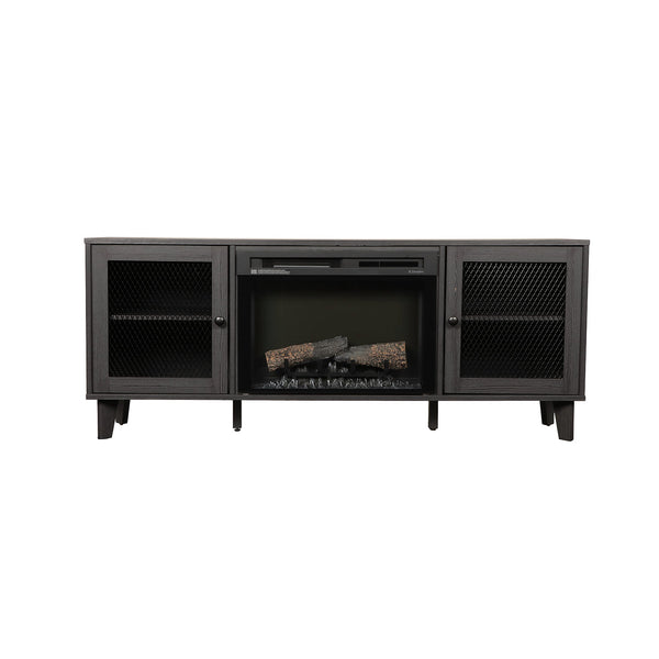 Dimplex Dean 65-Inch TV Media Console Electric Fireplace - Wrought Iron Finish - Realogs - GDS26L8-1909WI