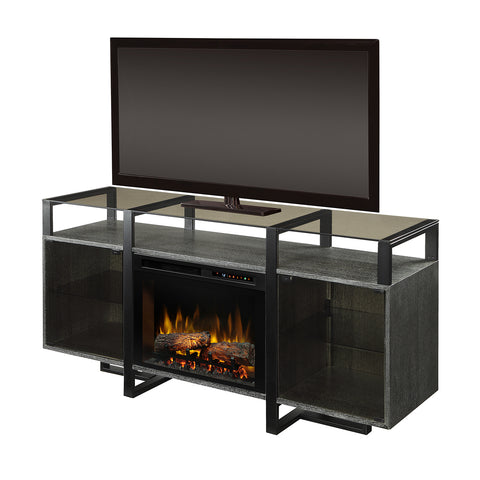 Dimplex Electric Fireplace, TV Stand, Media Console and Entertainment Center with Natural Log Set in Rift Chrome Finish - GDS26L8-1831RC