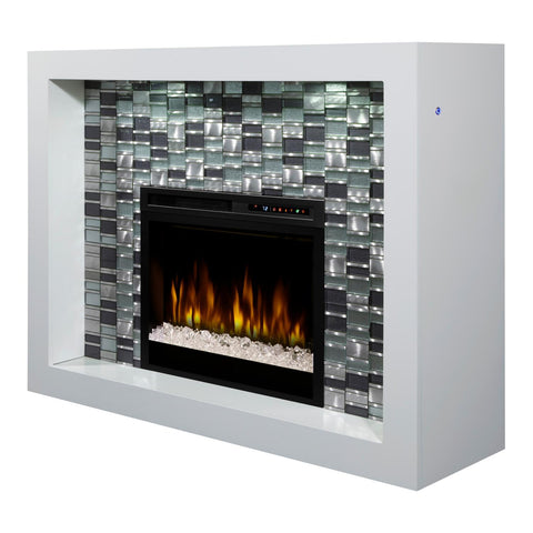 Dimplex Crystal 58-Inch Mantel Electric Fireplace - White - Acrylic Ice Embers - GDS28G8-1944W