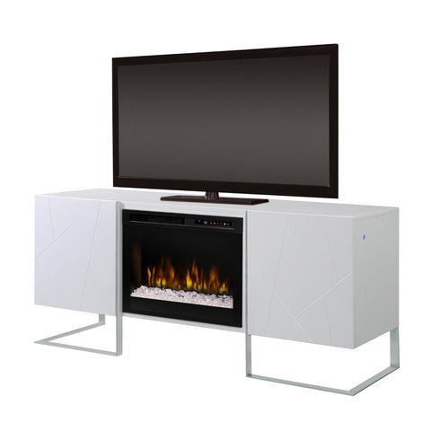 Dimplex Chase 65-Inch Media Console Electric Fireplace - Acrylic Ice Embers - Gloss White - GDS26G8-1962GW