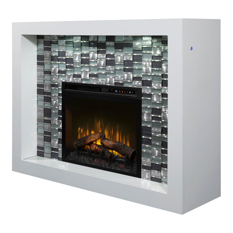 Dimplex Crystal 58-Inch Mantel Electric Fireplace - White - Realogs - GDS28L8-1944W