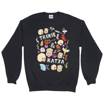SWEATSHIRTS - UNHHHH TRIXYA COLLAGE CREW NECK SWEATSHIRT