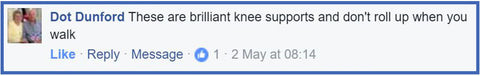 Facebook customer review for Active650 Knee Sleeve