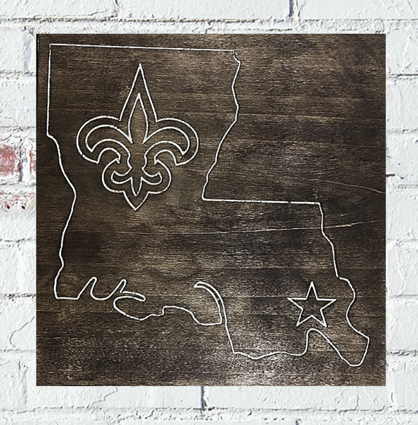 New Orleans Saints Fleur Dis Lis Louisiana Custom Wood Sign - Pelican Design & Mfg