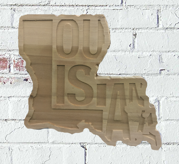 Louisiana Shaped Decor Letters Cut Out Custom Wood Sign - Pelican Design & Mfg