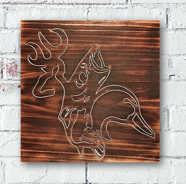 Deer Fish Duck Custom Wood Sign Burned - Pelican Design & Mfg