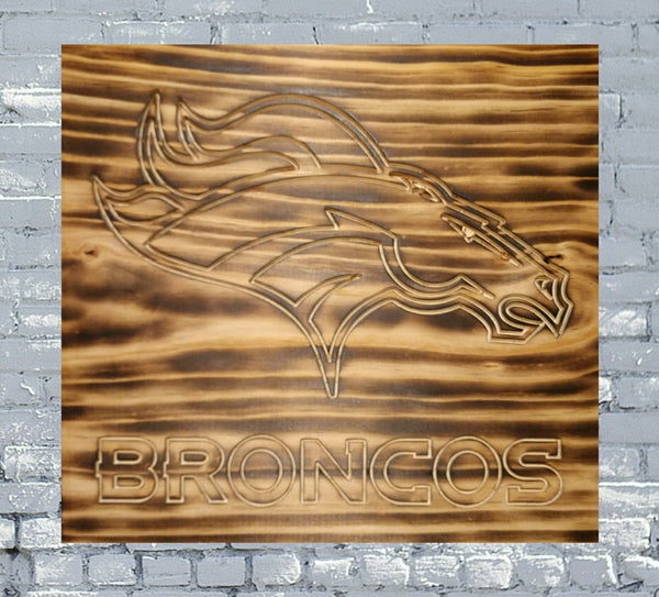 Denver Broncos Logo Custom Burned Wood Sign