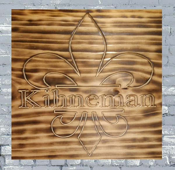 Fleur Dis Lis w/ Personalized Last Name Burned Wood Sign
