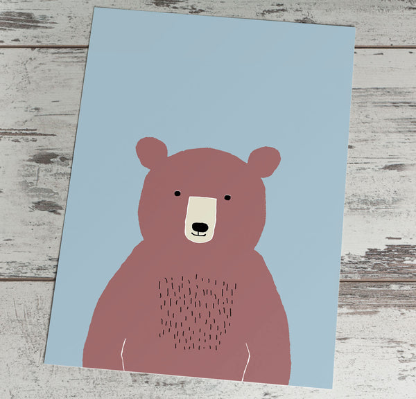 Bear on blue background