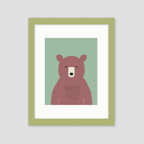 Bear framed nursery art
