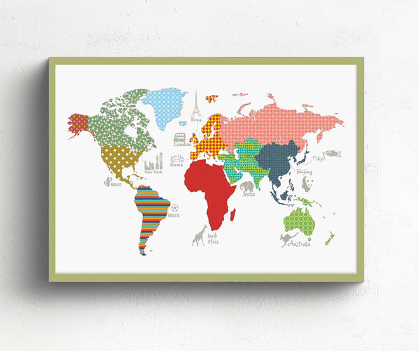 Vintage world map for kids – Modern kids gallery