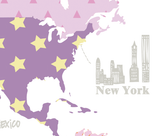 Girl's room world map wall print - purple 309a