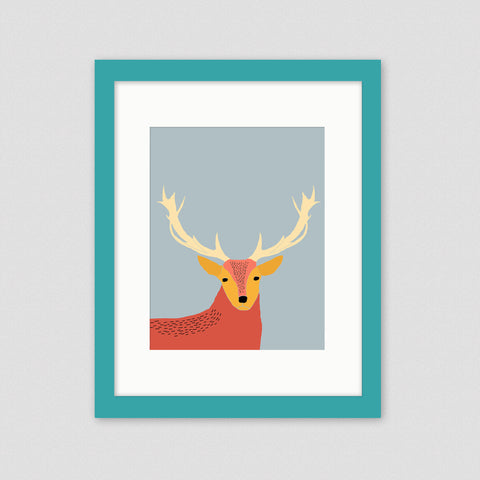 Stag kids wall art framed