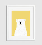Polar bear on yellow background