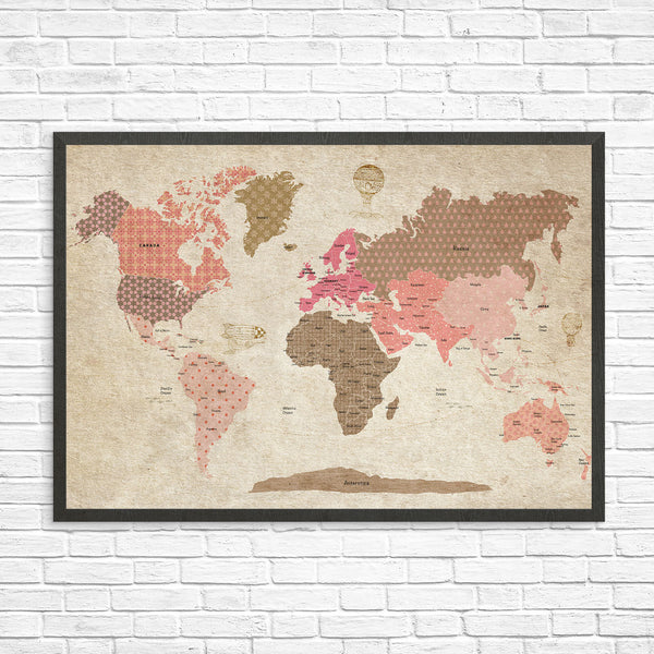Map - vintage world map for girls room – Modern kids gallery