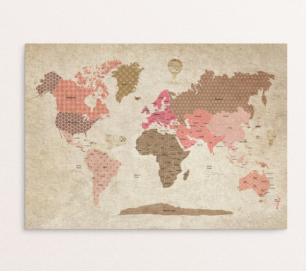 Map Vintage World Map For Girls Room Modern Kids Gallery - Vintage looking world map
