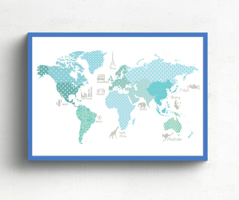 world map nursery decor