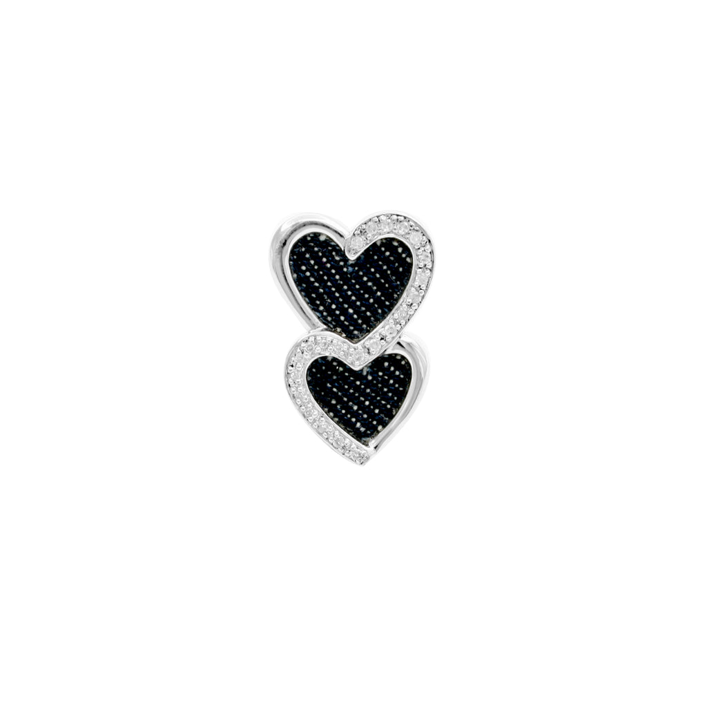 925 Silver Double-Heart Pendant with Diamond