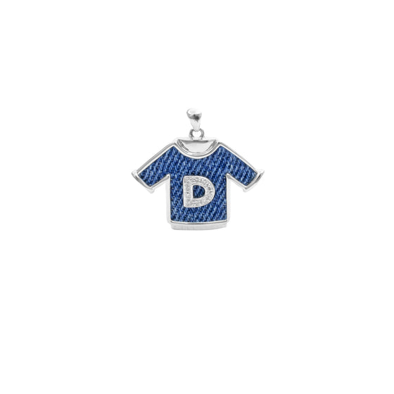 "925 Silver ""D"" T-shirt Pendant with diamond"