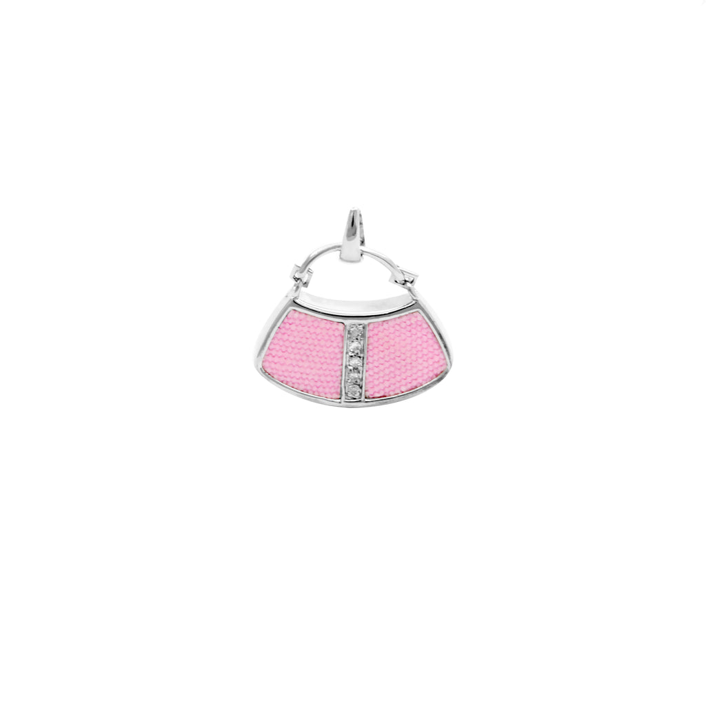 925 Silver Handbag Pendant with Diamond