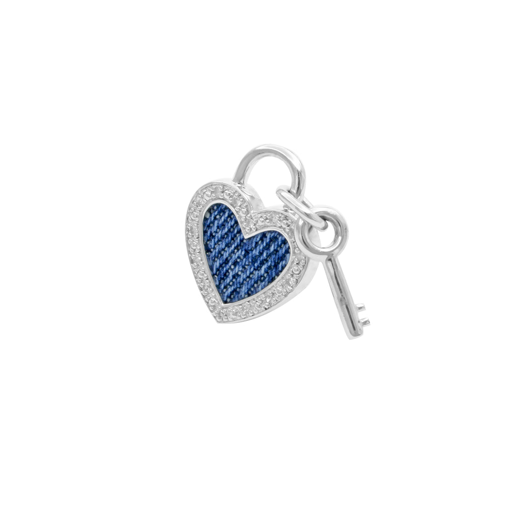 925 Silver Heart with Key Pendant