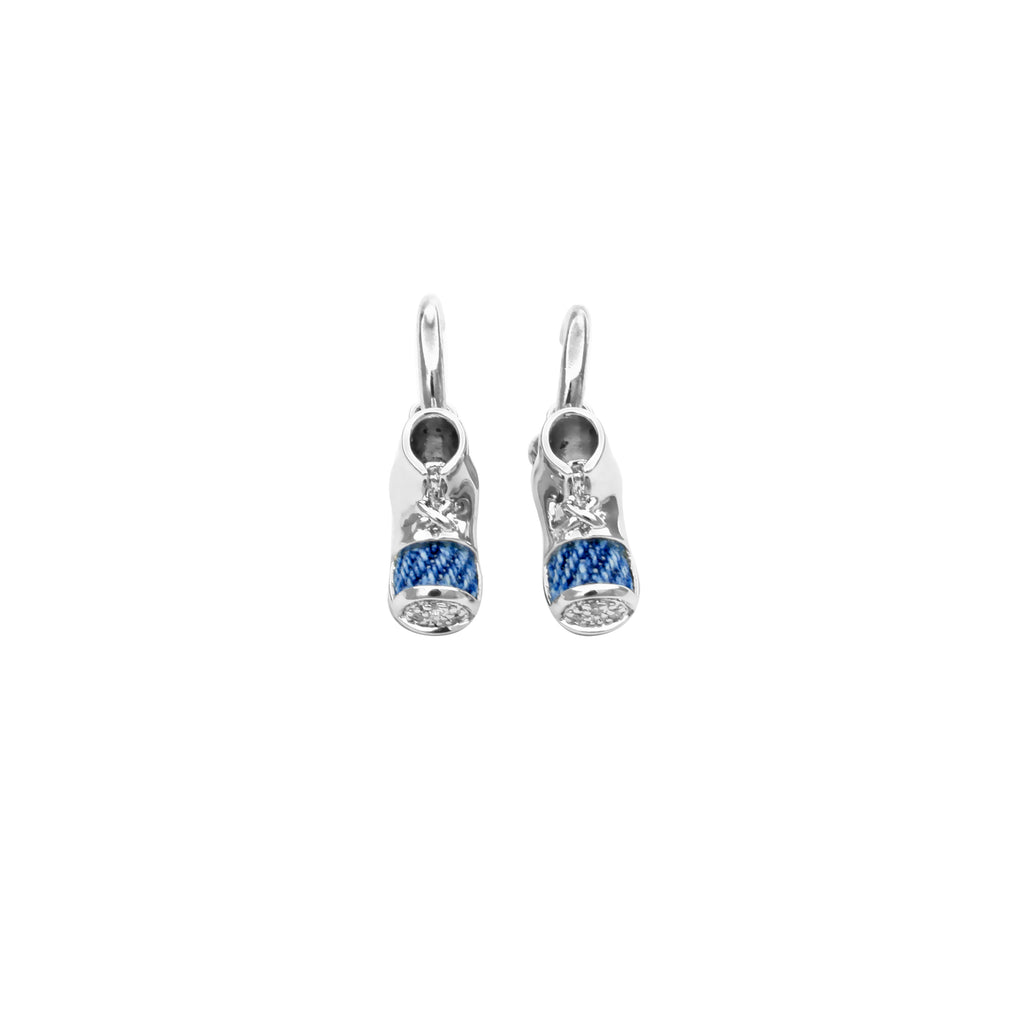 925 Silver Little Shoes Earrings with Diamond