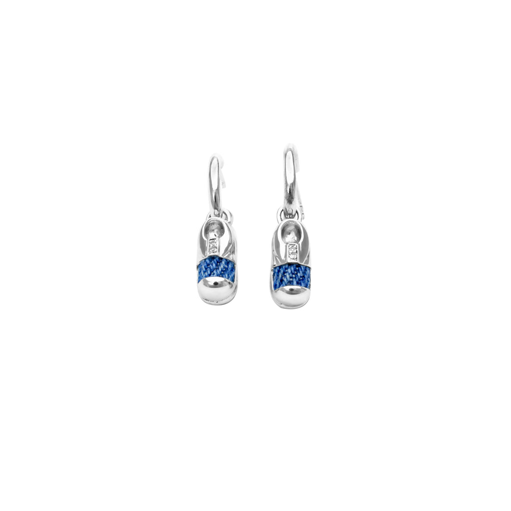 925 Silver Little Shoe Earrings with Diamond