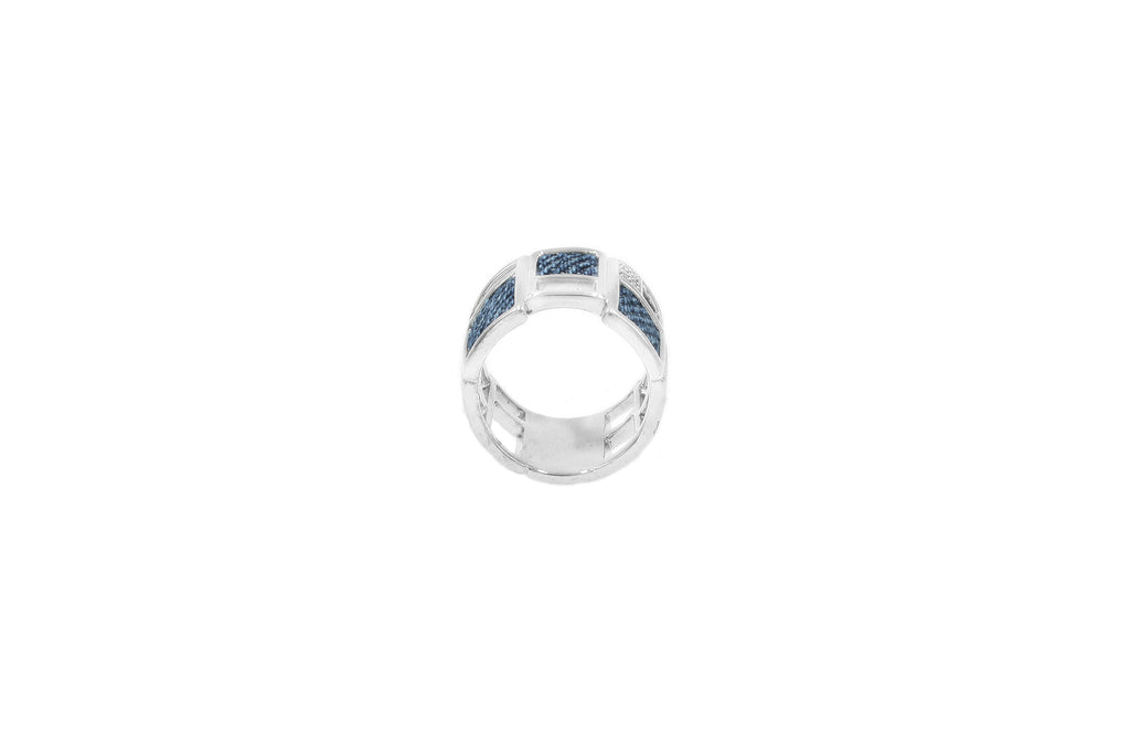 925 Silver Square-block Ring with Diamond