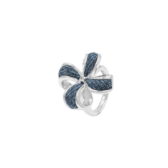 925 Silver Clover Ring with Diamond